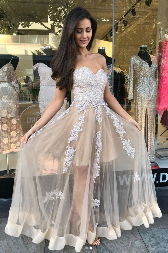 champagne sweetheart tulle lace long prom dress, lace formal dress
