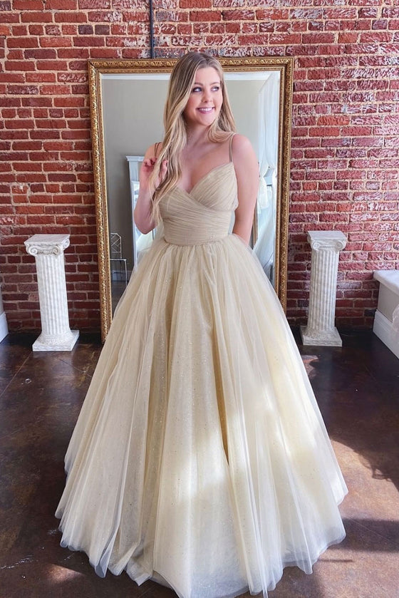 Champagne sweetheart tulle long prom dress, tulle formal dress