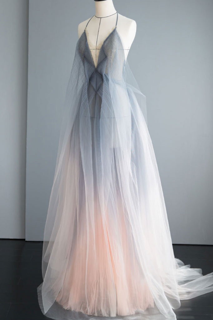 Gray tulle long prom dress gray tulle formal dress