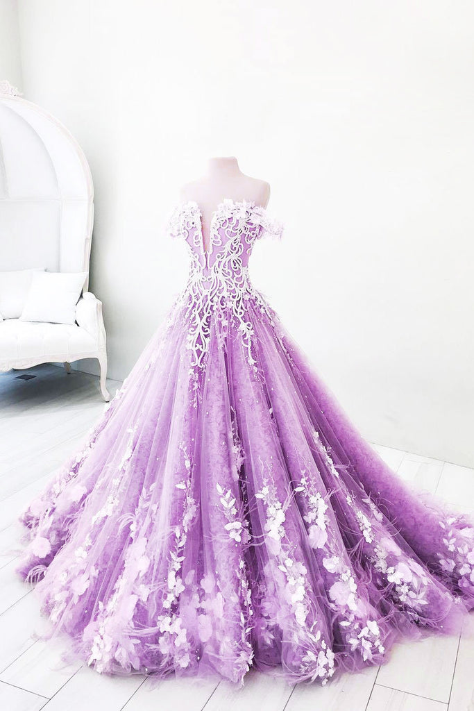 Unique purple tulle lace long prom dress, purple tulle lace evening dress