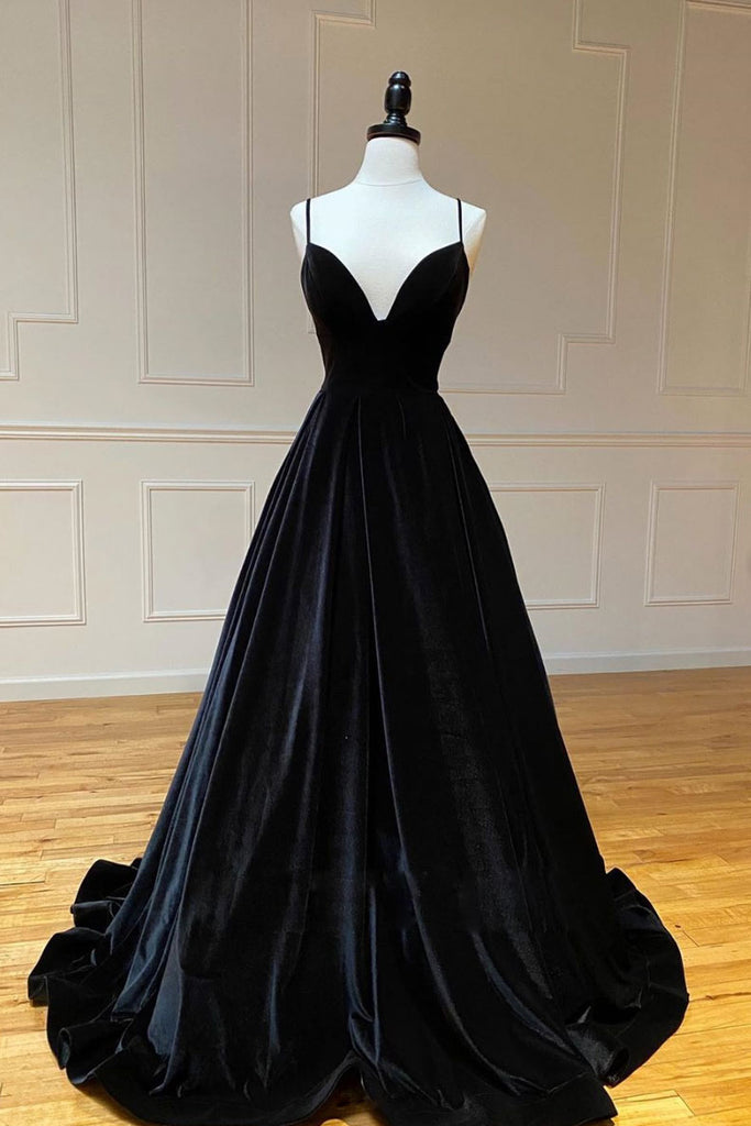Black v neck long prom dress black evening dress