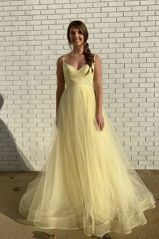 Yellow sweetheart tulle long prom dress yellow evening dress