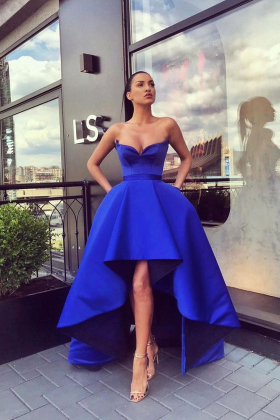 Simple blue high low prom dress blue satin evening dress