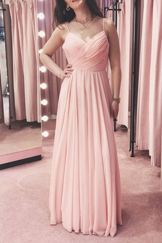 Simple pink chiffon long bridesmaid dress pink prom dress