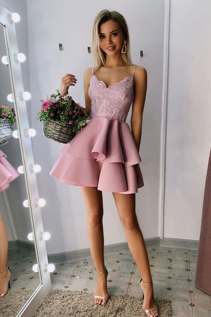 Pink sweetheart lace short prom dress pink lace homecoming dress