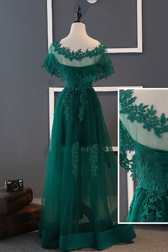 Green tulle lace long prom dress, green lace bridesmaid dress