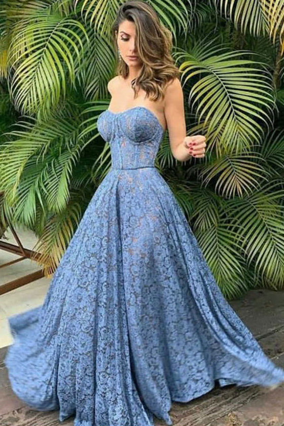 Blue sweetheart lace long prom dress blue lace bridesmaid dress