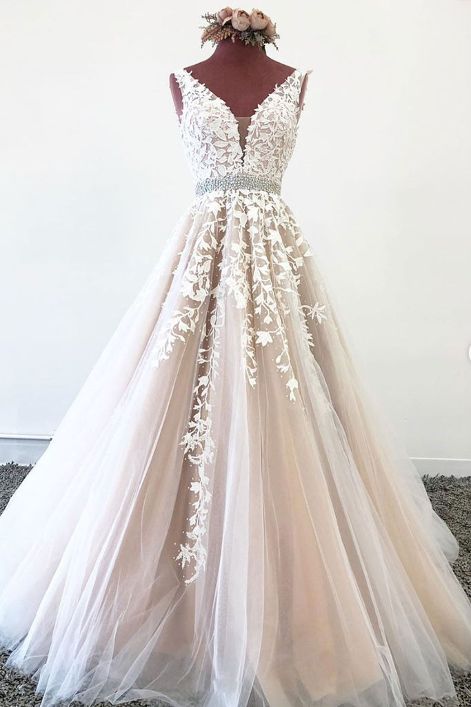Champagne tulle lace v neck long prom dress tulle formal dress