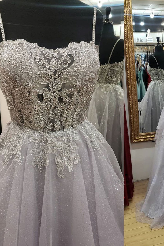 Gray sweetheart tulle lace long prom dress tulle formal dress