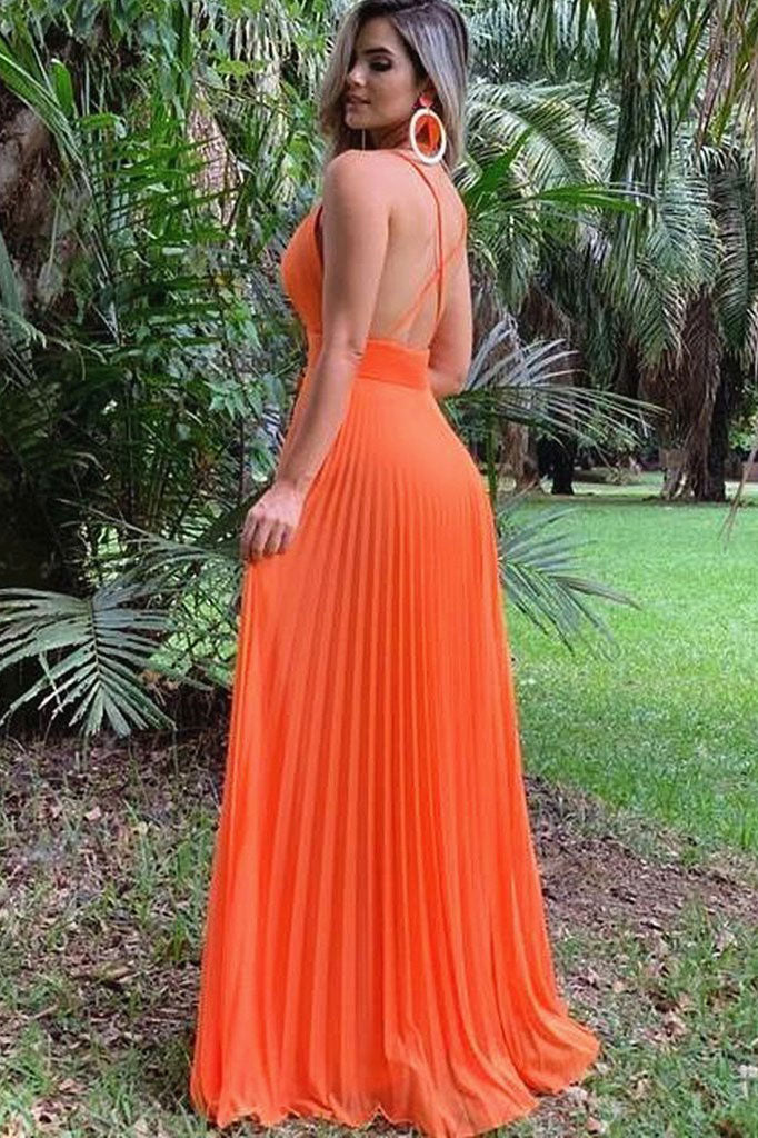 Simple v neck chiffon long prom dress chiffon evening dress