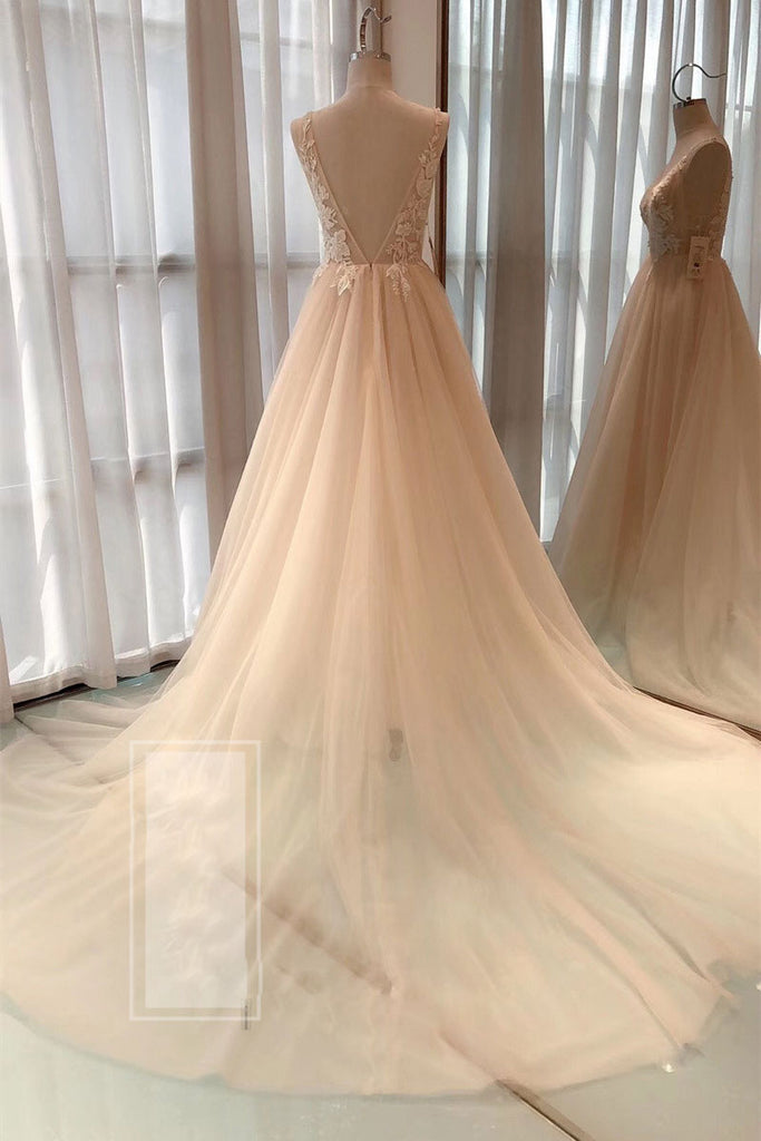 Champagne A-line v neck tulle long prom dress tulle formal dress