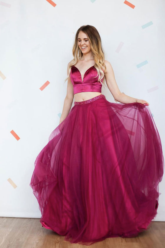 red tulle long prom dress