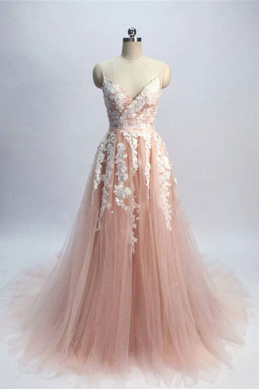 Pink tulle lace long prom dress, tulle formal dress