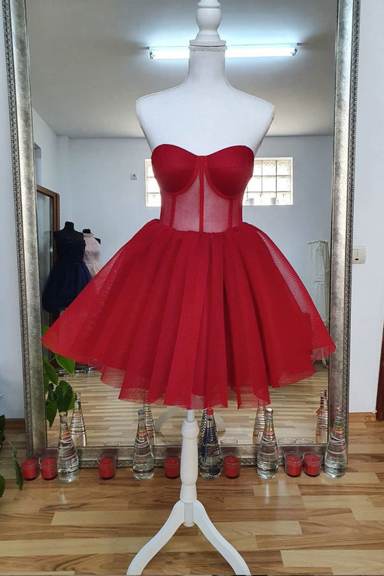 Red sweetheart tulle short prom dress red homecoming dress