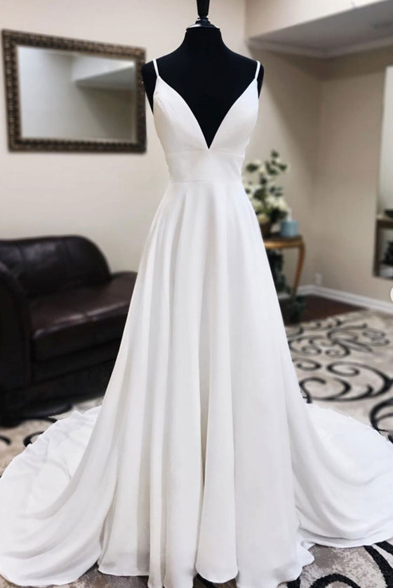 White v neck chiffon long prom dress white lace evening dress