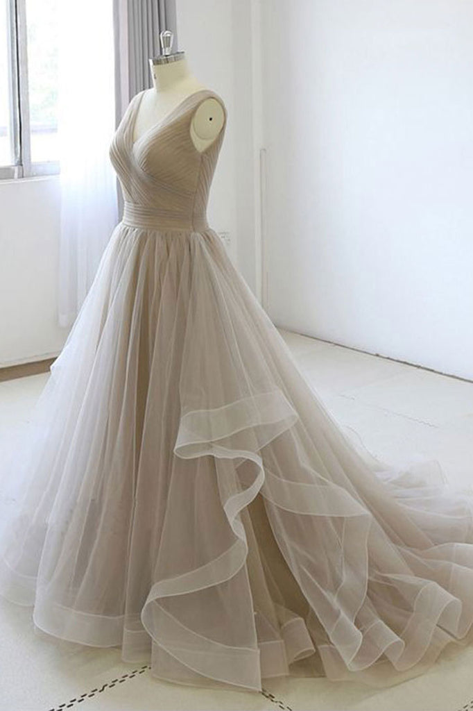 Simple v neck tulle light gray long prom dress tulle formal dress