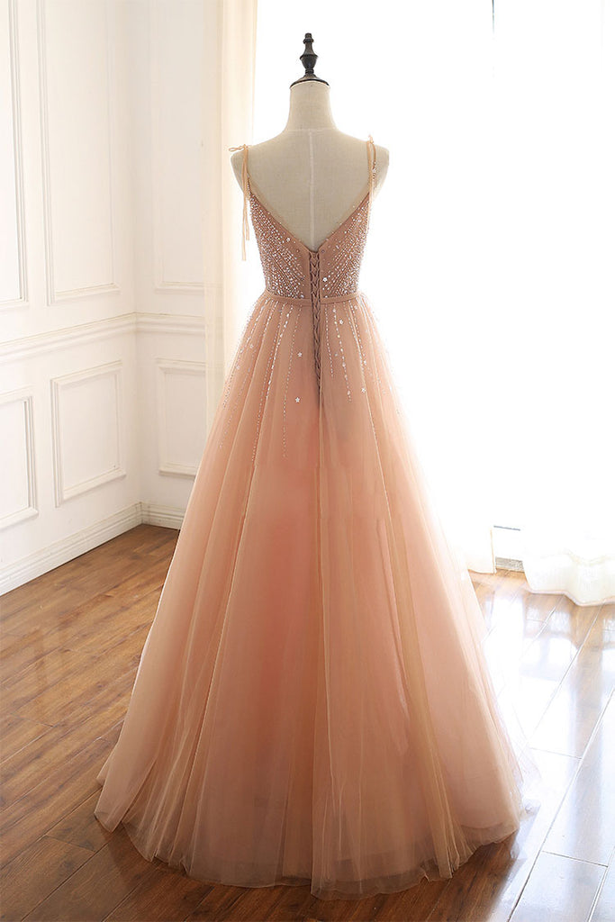 Champagne tulle beads sequin long prom dress, evening dress