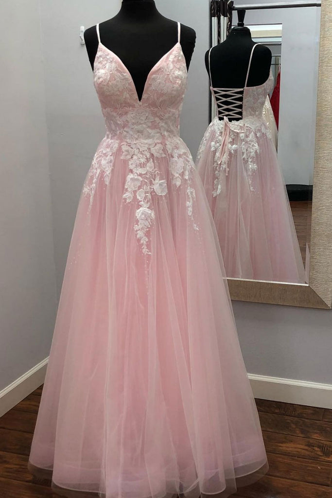Pink v neck tulle lace long prom dress pink tulle evening dress