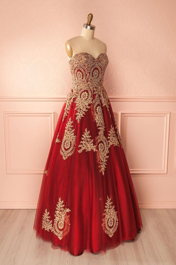 Red sweetheart neck lace applique long prom dress, red evening dress