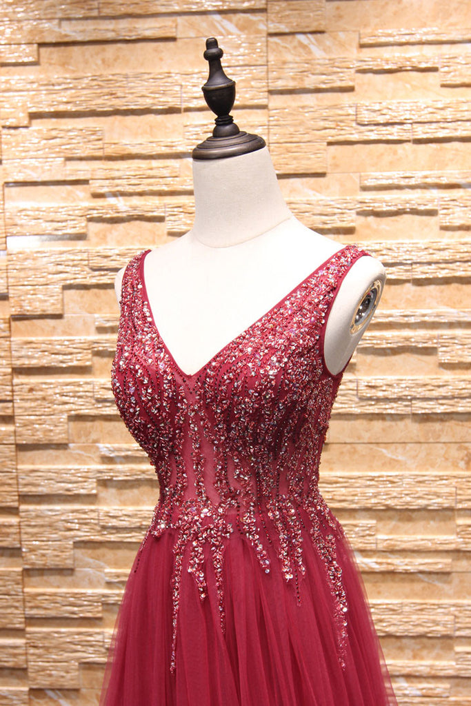 Burgundy v neck beads tulle long prom dress, burgundy evening dress
