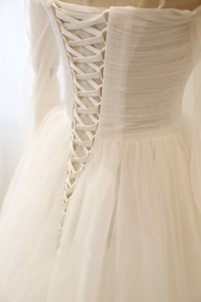 Elegant white tulle long prom dress, white tulle evening dresses