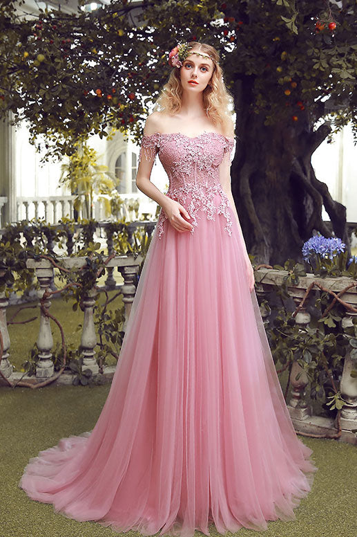6dd8bb91afa3 Pink off shoulder lace tulle long prom dress