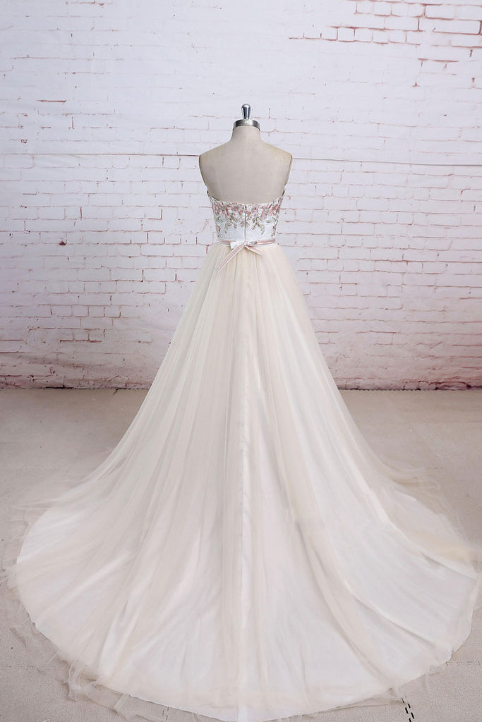 Light champagne lace tulle long prom dress, champagne lace wedding dress
