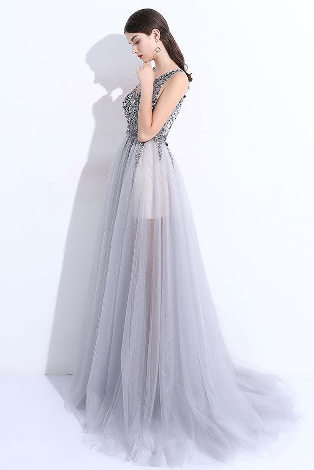 Gray v neck tulle beads long prom dress, gray evening dress - dresstby