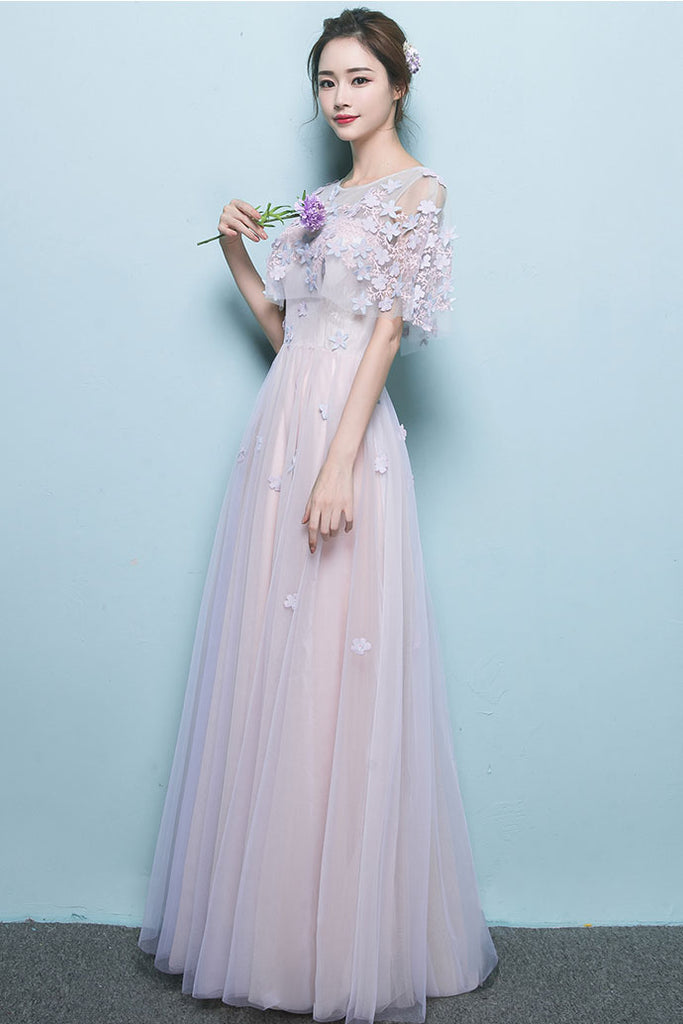 Pink tulle lace long prom dress tulle applique formal dress