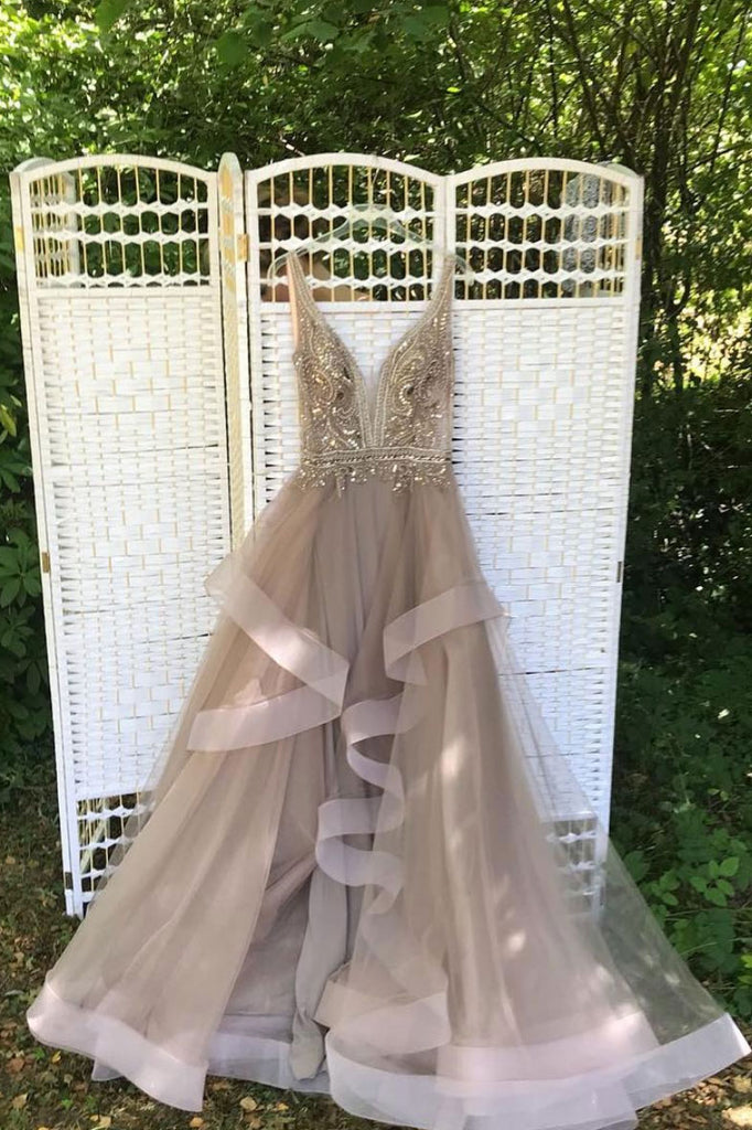 Champagne v neck beads tulle long prom dress, evening dress