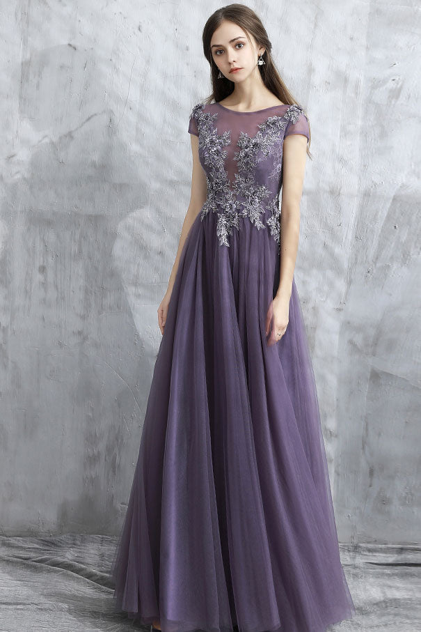 Elegant round neck tulle long prom dress, tulle evening dresses