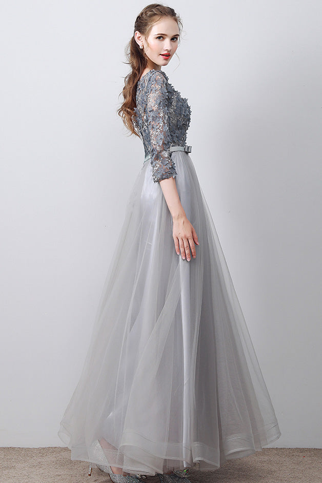 Gray round neck tulle applique tea long prom dress, evening dress
