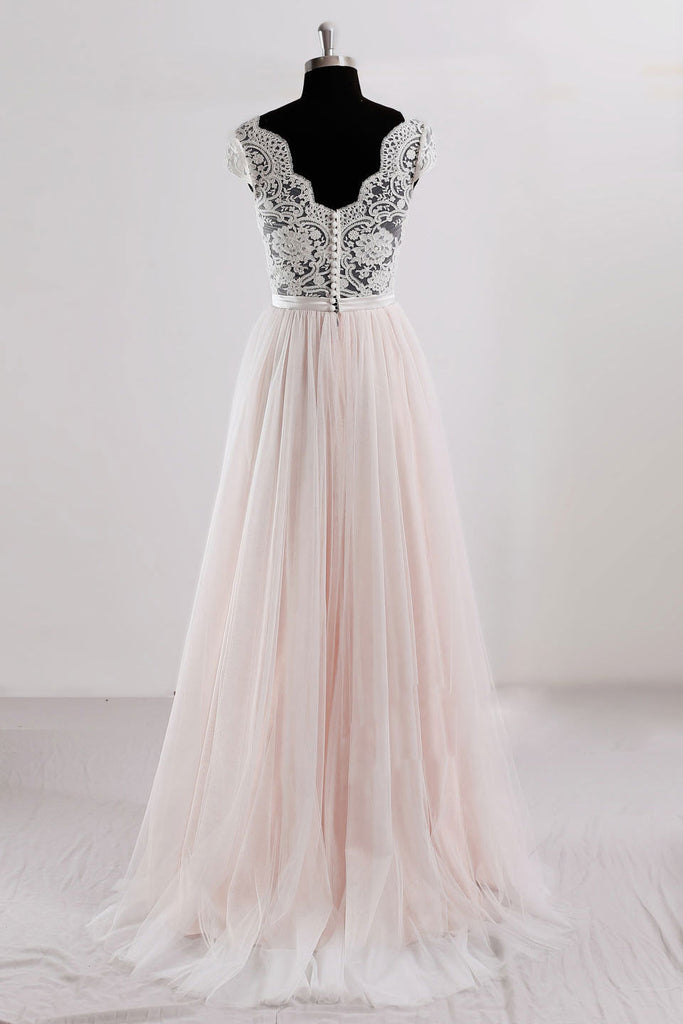 Pink v neck lace tulle long prom dress, pink wedding dress