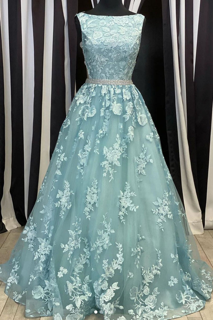 Green round neck tulle lace long prom dress green evening dress