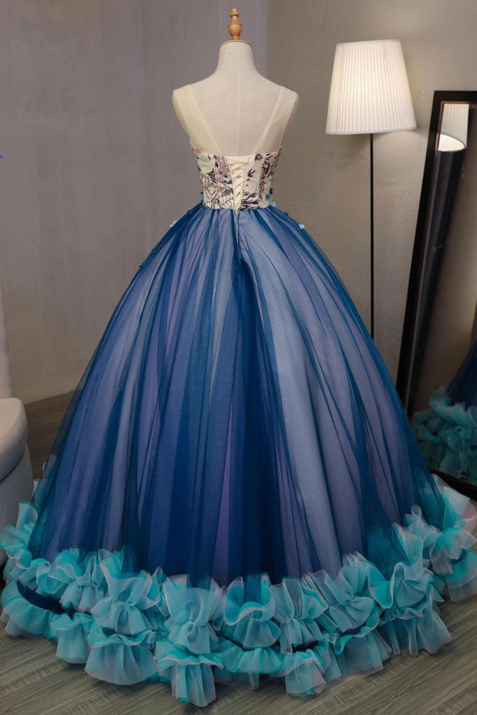 Unique v neck tulle long prom gown, sweet 16 dress