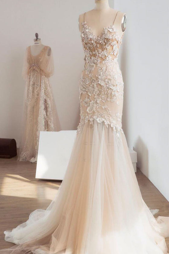 unique v neck lace applique long wedding dress, champagne tulle lace bridal dress