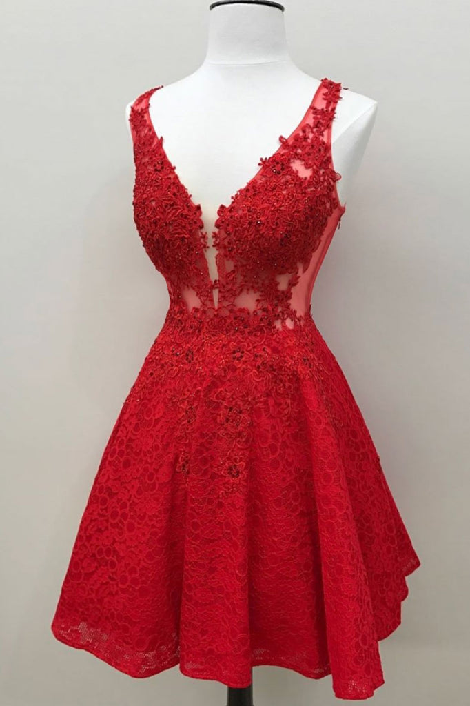 Red v neck lace short prom dress, red homecoming dress