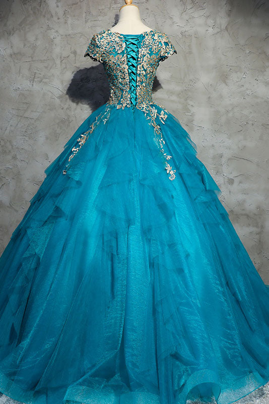 Unique blue round neck tulle applique long prom dress, blue evening dress