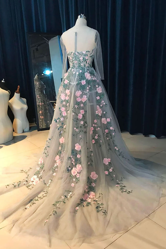 Unique gray round neck tulle applique long prom dress, evening dress