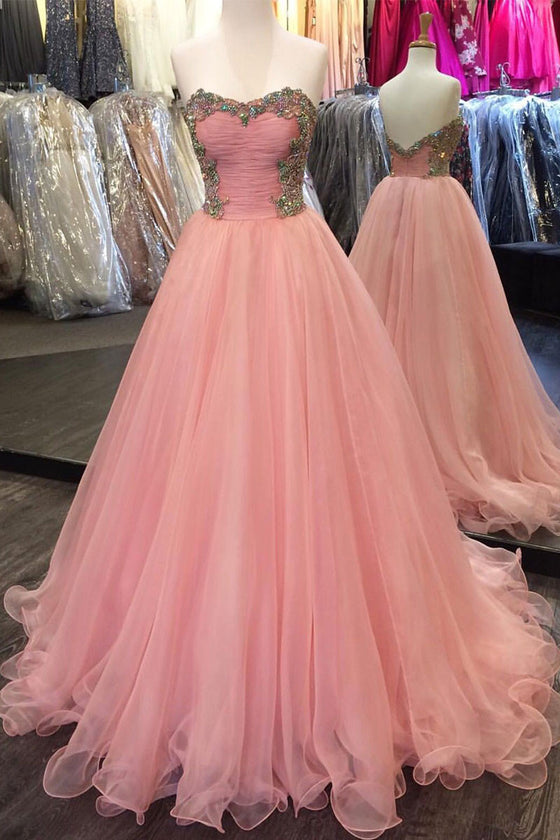 Pink sweetheart neck tulle long prom dress, pink evening dress