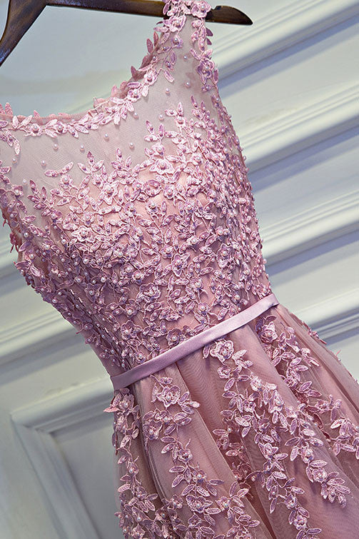 Pink lace tulle short prom dress, pink homecoming dress