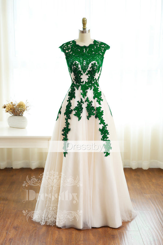 Green lace long prom dress, green bridesmaid dress