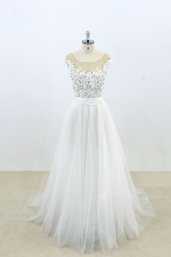 White round neck lace tulle long prom dress, white lace wedding dress