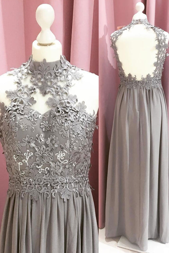 Gray chiffon lace long prom dress, gray lace long evening dress