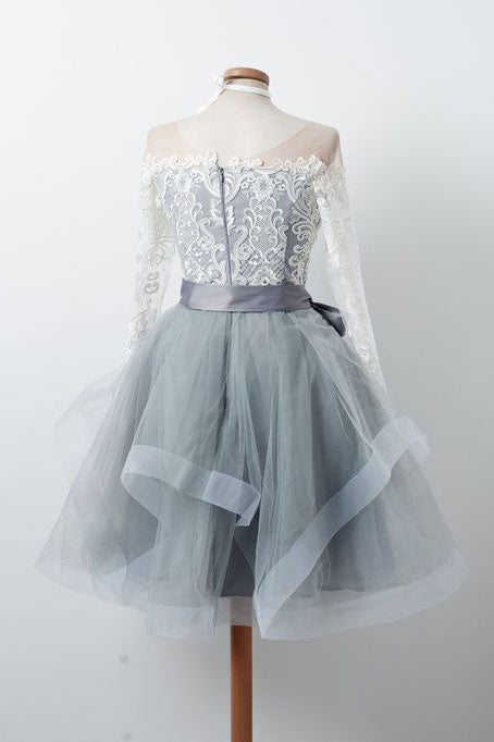 Gray round neck tulle lace short prom dress, gray homecoming dress