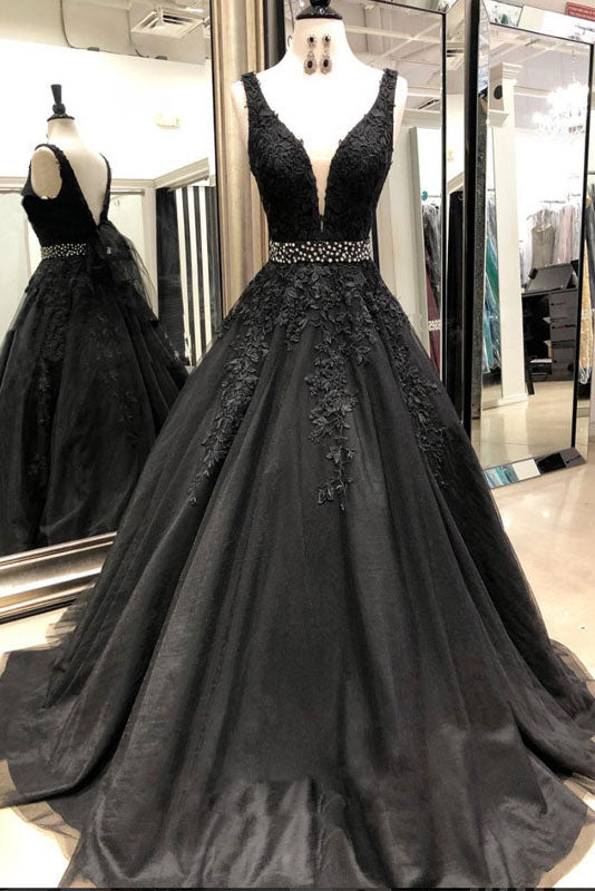 9f25bf3321 Black v neck lace tulle long prom dress, black evening dress - dresstby