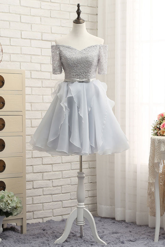 Gray tulle lace short prom dress, gray homecoming dress