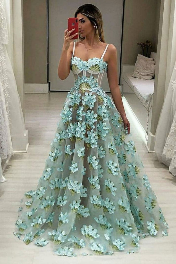 Green sweetheart neck lace long prom dress, green evening dress