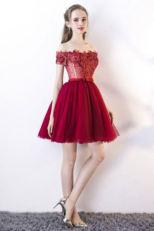 3c4d3f11c62 Cute burgundy tulle lace applique short prom dress, burgundy homecoming