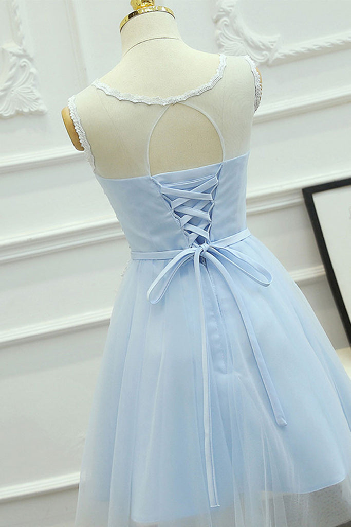 Cute round neck lace tulle blue prom dress, homeoming dress